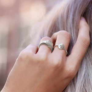 Open Initial Ring Silver- One Size