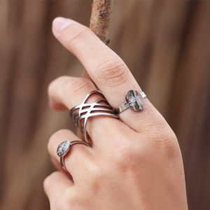 Crossed Lines Ring - Silver