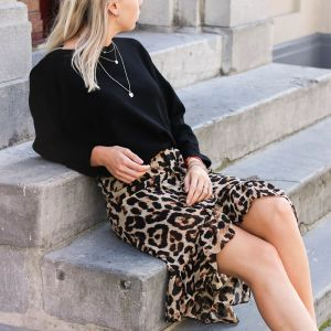 Long Ruffle Leopard Skirt - Brown
