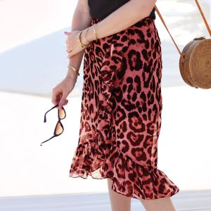 Long Ruffle Leopard Skirt - Red