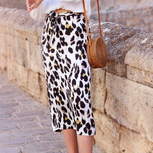 Midi Leopard Skirt - Off White