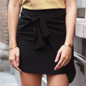 Wrap Knot Skirt - Black