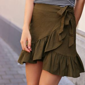 Cotton Wrap Skirt - Dark Green
