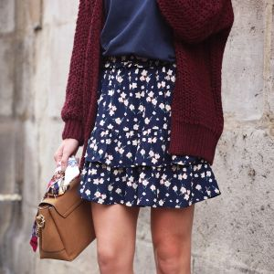 Flower Layer Skirt - Dark Blue