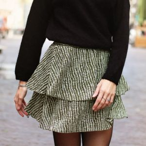 Green Double Layer Spot Skirt