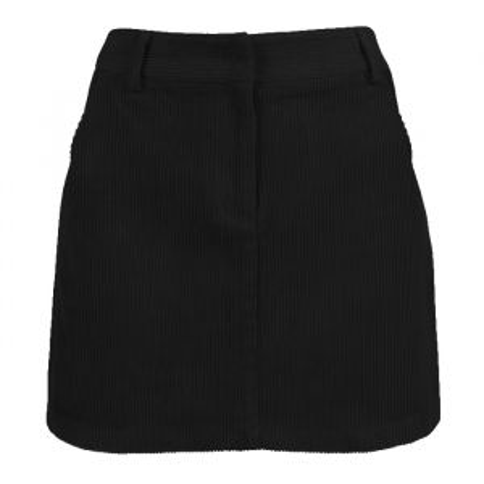 Black Corduroy A-Line Skirt