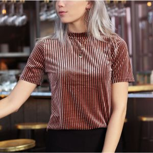 Pink & Black Striped Velvet Rib Top