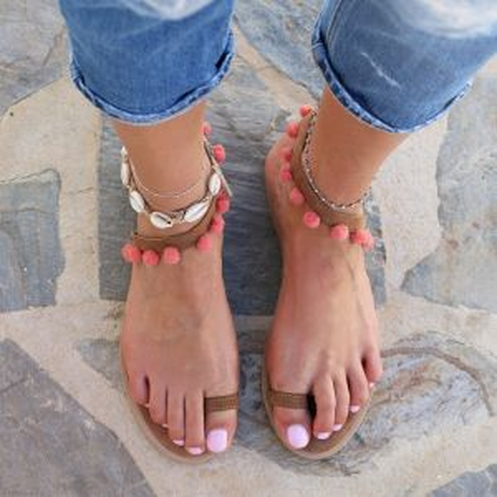 Boho Pompon Sandal – Coral