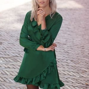 Dark Green Satin Dress