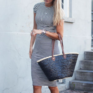 Striped Pencil Dress - blue/white
