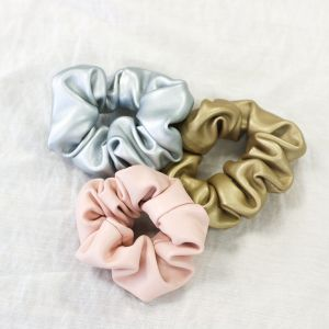 Silver Faux Leather Scrunchie
