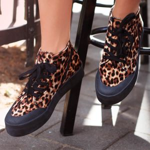 Leopard Sneakers - Brown/Black