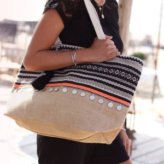 Multicolor Ibiza Beach Bag - Beige/Black