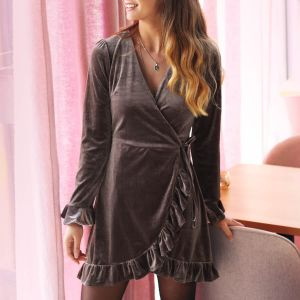Taupe Velvet Ruffle Wrap Dress