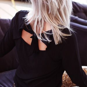 Black Open Back Sleeve Top