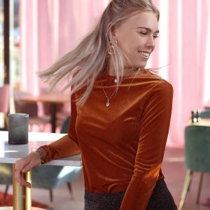 Rust Rib Velvet Long Sleeve