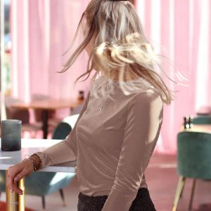 Light Pink Rib Velvet Long Sleeve