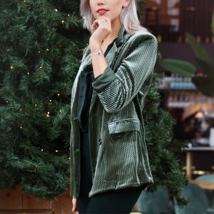 Green Velvet Structured Blazer
