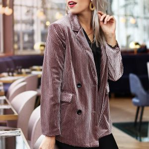 Old Pink Velvet Structured Blazer