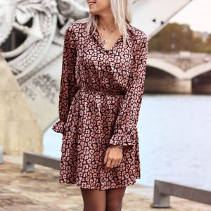 Satin Leopard Dress Long Sleeve