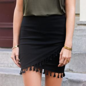 Tassel Wrap Skirt - Black