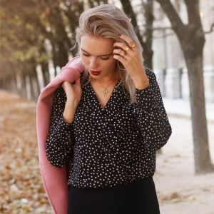 Dotted Wrap Blouse
