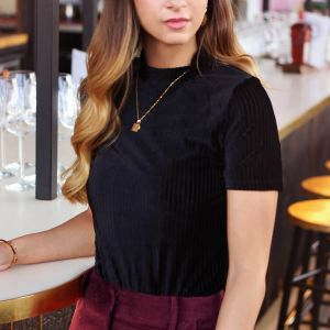 Black Velvet Short Sleeve Top