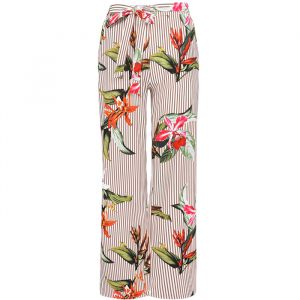 Striped Flower Palazzo Pants - Beige