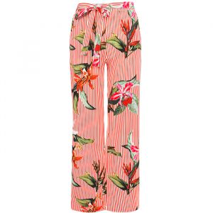 Striped Flower Palazzo Pants - Red