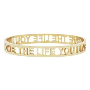 Love The Life You Live Open Bangle - Gold