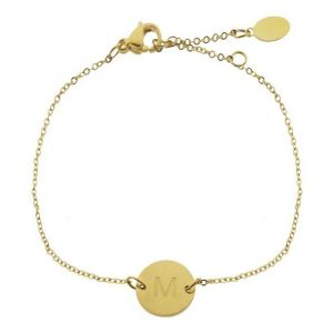 Gold Initial Coin Bracelet - A-Z