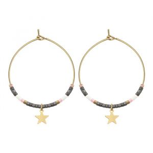 Medium Hoops Star & Beads Grey - Gold/Silver/Rose