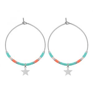 Medium Hoops Star & Beads Turquoise - Gold/Silver/Rose