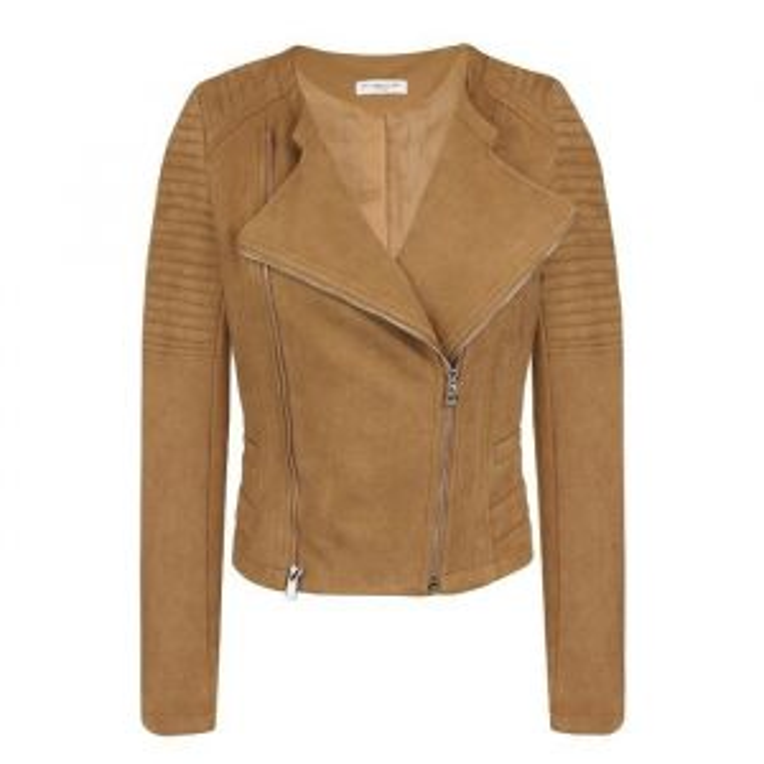 Suedine Biker Jacket - Cognac