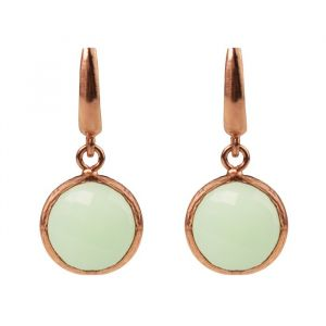 Round Stone Earrings Green - Silver/Rose