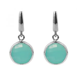 Round Stone Earrings Turquoise - Silver/Rose