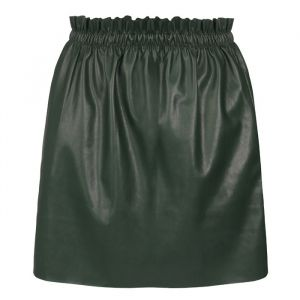 Ruffle Leather Skirt - Green
