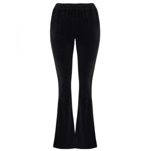 Flared Velvet Pants - Black