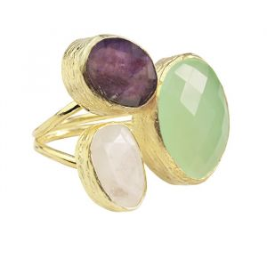 My Jewellery Gold Trio Gem Ring – Gold Green/Purple