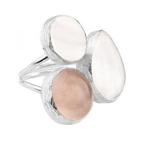 My Jewellery Gold Trio Gem Ring – Silver White/Taupe