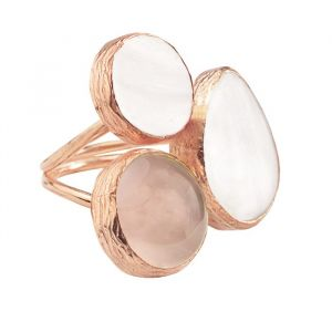 My Jewellery Gold Trio Gem Ring – Rose White/Taupe