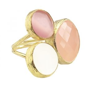 My Jewellery Gold Trio Gem Ring – Silver Pink/Peach