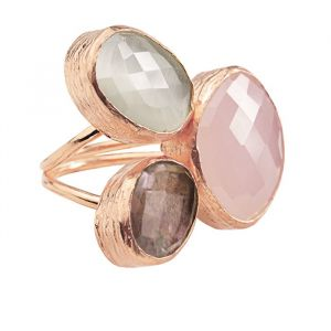 My Jewellery Gold Trio Gem Ring – Rose Pink/Brown