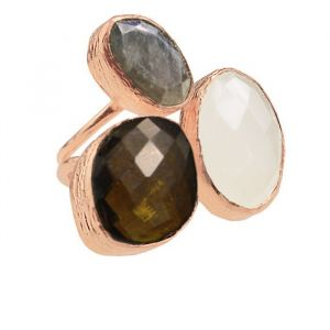 My Jewellery Gold Trio Gem Ring – Rose Brown/Black