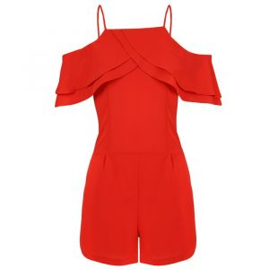 Ruffle Playsuit - Red