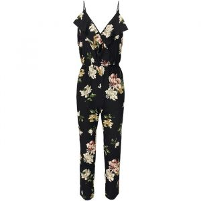 Flower Ruffle Jumpsuit - Black