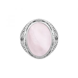 Silver Striped Ring - Pink
