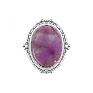 Silver Detailed Ring - Purple