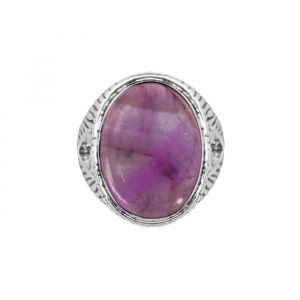 Silver Striped Ring - Purple
