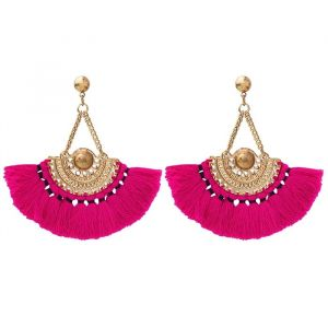 Boho Tassel Earrings Pink - Gold/Silver
